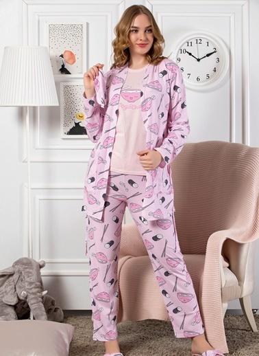Strawberry Pamuklu  5'Li Set Sabahlık Pijama Takım Lila